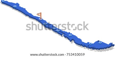3d isometric view map of Chile with blue surface and cities. Isolated, white background