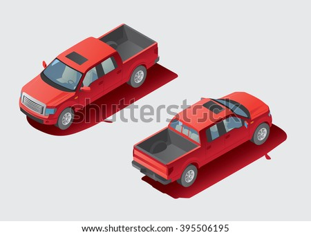 3d isometric view of pickup. Front and rear views.