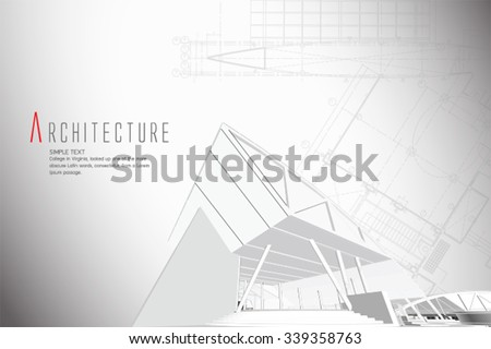 3D isometric view of the cut public building on architect drawing.