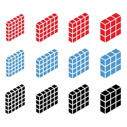 3d isometric wall, firewall icon, symbol and logo. Guard, shield, protection, and block concept icon