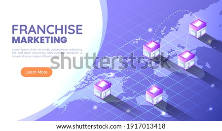 3d Isometric Web Banner Franchise Store on World Map Around The World. Franchise Business Marketing Concept. Stockfoto ©