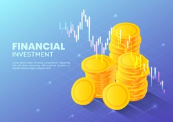 3d Isometric Web Banner Golden Money Coin with Stock Market Trading Graph. Financial and Investment Concept.