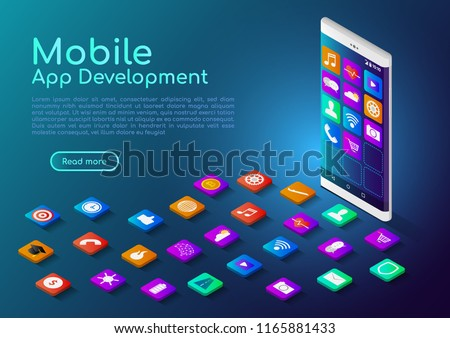 3d isometric web banner smartphone with mobile app icon. Mobile Application Development landing page concept.