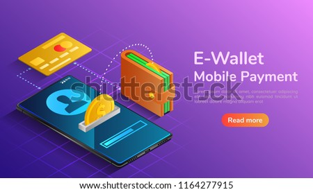 3d isometric web banner wallet and credit card connected and transfer money to smartphone. E-wallet and mobile payment landing page concept.
