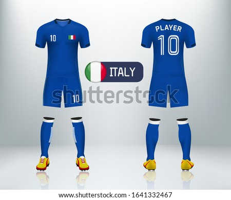 3D Italy badge and realistic of front and back view of soccer jersey shirt on shop backdrop. Concept for soccer team uniform or football apparel mock up.Wales soccer kit t-shirt template in vector. ストックフォト ©