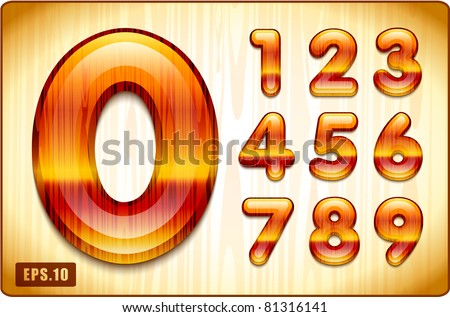 3d Joyful Decorative lacquer numbers of expensive wood, from 1 to 0. Eps 10. The remaining letters of the alphabet in the portfolio.
