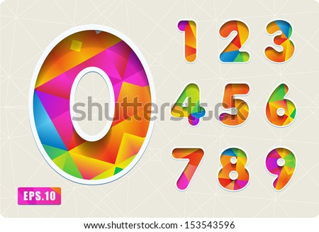 3d Joyful set of cut paper vector numbers from 1 to 0. Multicolored gradient. Eps 10. The rest of uppercase and lowercase letters, symbols and numbers of the alphabet in my portfolio.