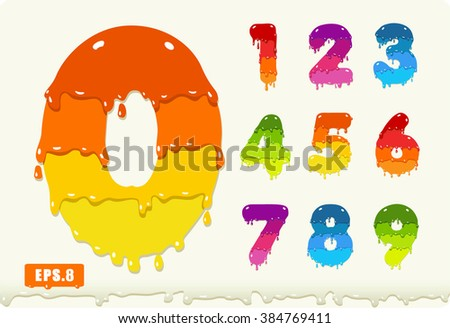 3d joyful set of numbers