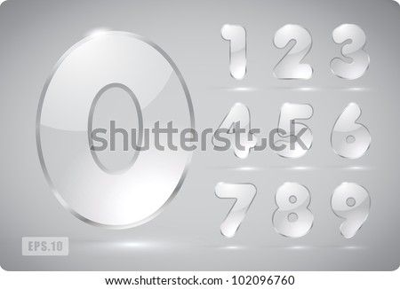 3d Joyful set of transparent vector glass numbers, from 1 to 0. Eps 10. The rest of uppercase and lowercase letters, and symbols of the alphabet in my portfolio.