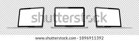 3d laptop mockup. Isometric mock up of laptop. Computer with blank screen for app. Realistic silver device with white screen isolated on transparent background. Laptop with open display. Vector.