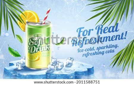 3d lemon juice soda ad template in the concept of chilling drink for summer. Realistic cola can stands on an ice stage with ice cubes and palm leaf decoration.