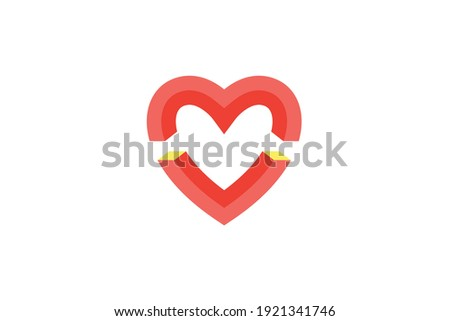 3d letter m and v logo with love heart shape vector graphic Stock fotó ©