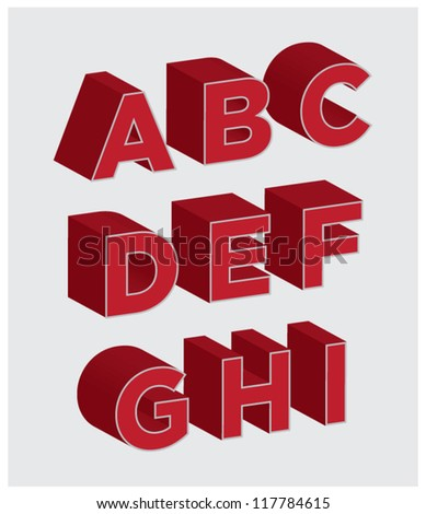 3D Lettering A through I