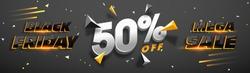 3D lettering Black Friday Mega Sale with 50% Off. Creative glowing social media banner design.