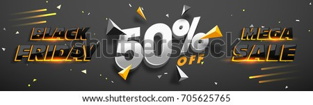 3D lettering Black Friday Mega Sale with 50% Off. Creative glowing social media banner design.
