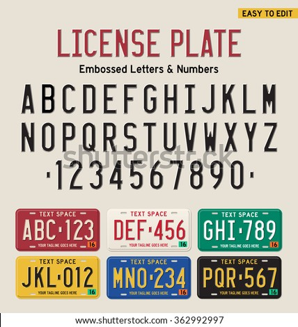3d license plate font and license plate set