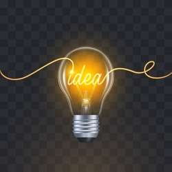 3d Light Bulb with glowing idea text and continuous line. Yellow light bulb. Concept Illustration about idea, inspiration, creativity, think big, innovation, invention. Realistic Vector