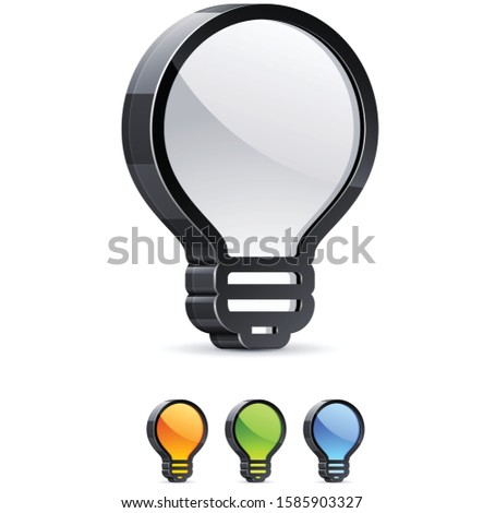 3d Lightbulb. Vector illustration of 3D lightbulb sign.