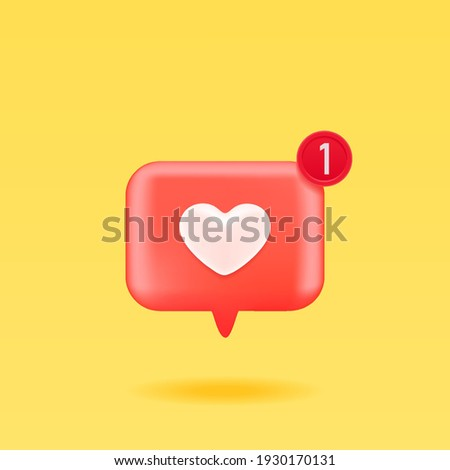 3D Like icon with notifications, isolated on yellow background. 3D social media notification, like heart icon design. Vector illustration.