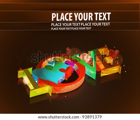 3d love text illustration vector