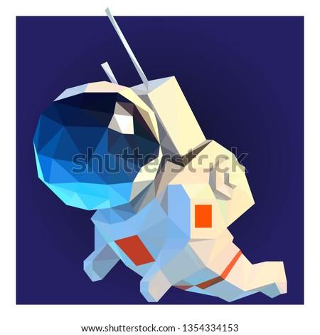 3d low poly astronaut polygon art