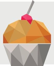 3D low poly cupcake polygon art