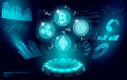 3D low poly digital cryptocurrency HUD display. Future web online payment. Big data information exchange technology. Blue abstract web internet electronic payment UI vector illustration