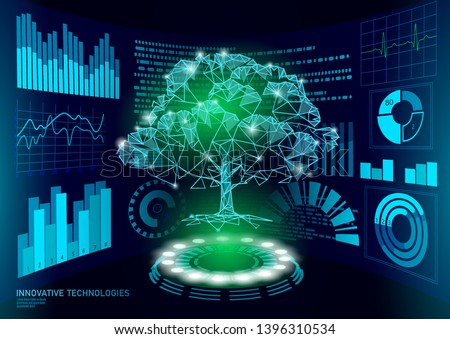 3D low poly green plant tree HUD UI display. Future polygonal triangle point line ecology problems solution abstract biology. Genome engineering vector illustration future business technology