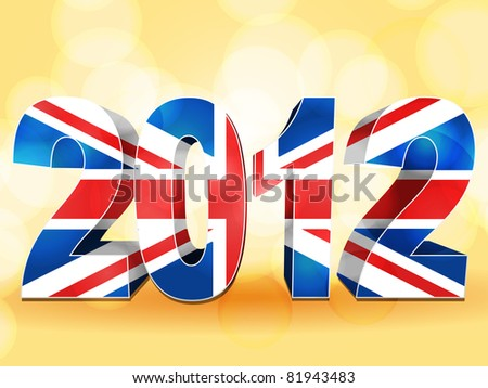 3d 2012 made from a union jack on an orange background with lens flares