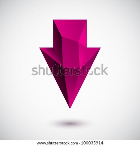 3d magenta down arrow sign for navigation. Vector illustration.