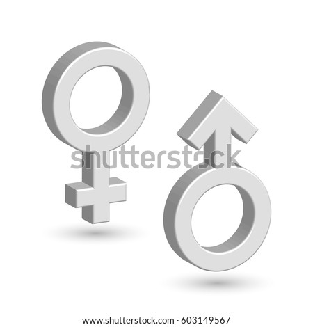 3D male and female symbols with shadow. Toilet marks. EPS10 vector illustration.