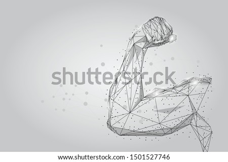 3D male hand muscles connected dots low poly wireframe. Polygonal physical strength, bodybuilder, athlete body mesh art vector illustration. Human power