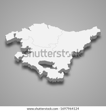 3d map of Basque Country is a region of Spain Foto stock ©
