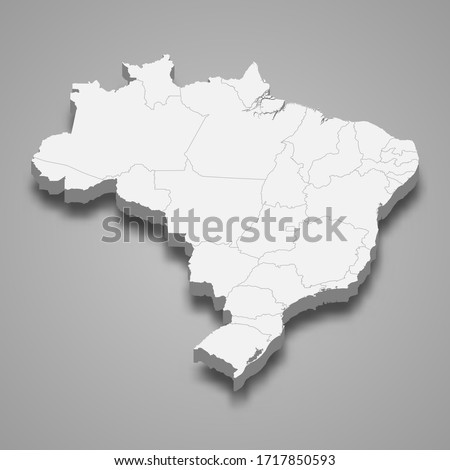 3d map of Brazil with borders of regions
