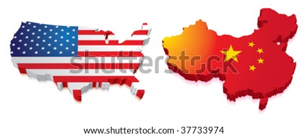 3D Map of China and US with Flag - stock vector