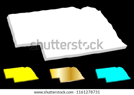 3D map of Nebraska (United States of America, Cornhusker State) - white, yellow, blue and gold - vector illustration