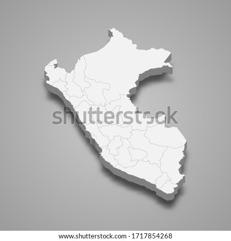 3d map of Peru with borders of regions