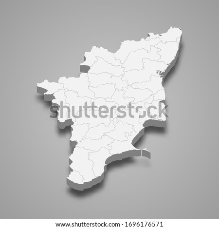 3d map of Tamil Nadu is a state of India Zdjęcia stock ©
