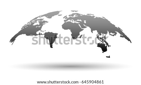 3D Map of the World in Grey Color with Shadow Isolated on White Background. Vector Illustration