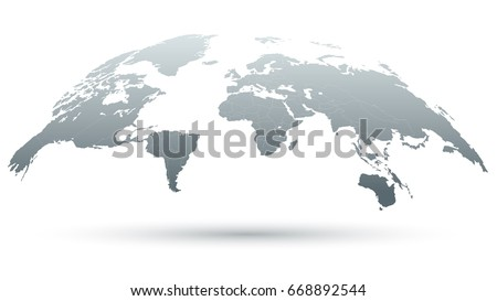 3D Map of the World Isolated on White Background in Grey Color. Vector Illustration