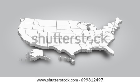 Shutterstock 3D Map of United state of america .