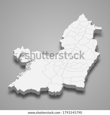 3d map of Valle del Cauca is a department of Colombia, vector illustration Foto stock ©