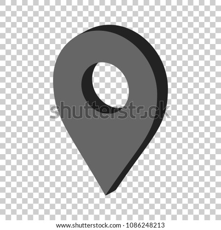 3D map pointer in flat style. Gps navigation mark illustration on isolated transparent background. Pointer destination concept.