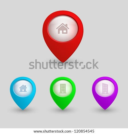 3d map pointers with house icons. web buttons set - stock vector