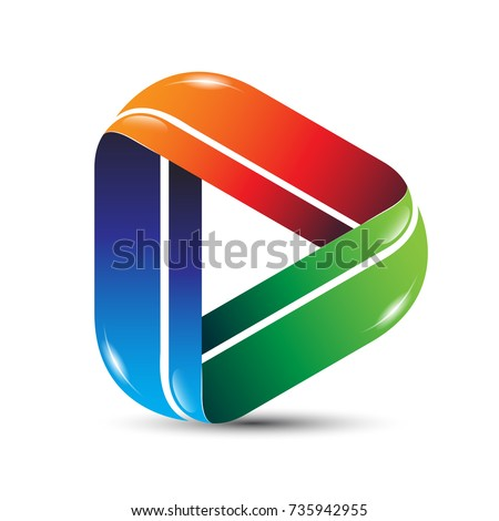 3D media play icon logo design. Video and music player application logo concept vector illustration.