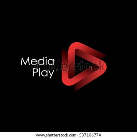 3d media play logo design