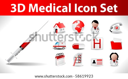3d medical icon set