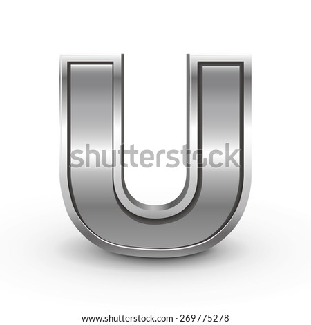 3d metal letter u isolated on