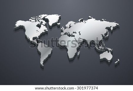 3d metallic silver world map