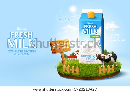 3d milk ad template for product display. Milk pack mock-up set in a miniature farm island on sunshine sky background.
